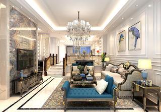 法式轻奢风格别墅装修客厅搭配图