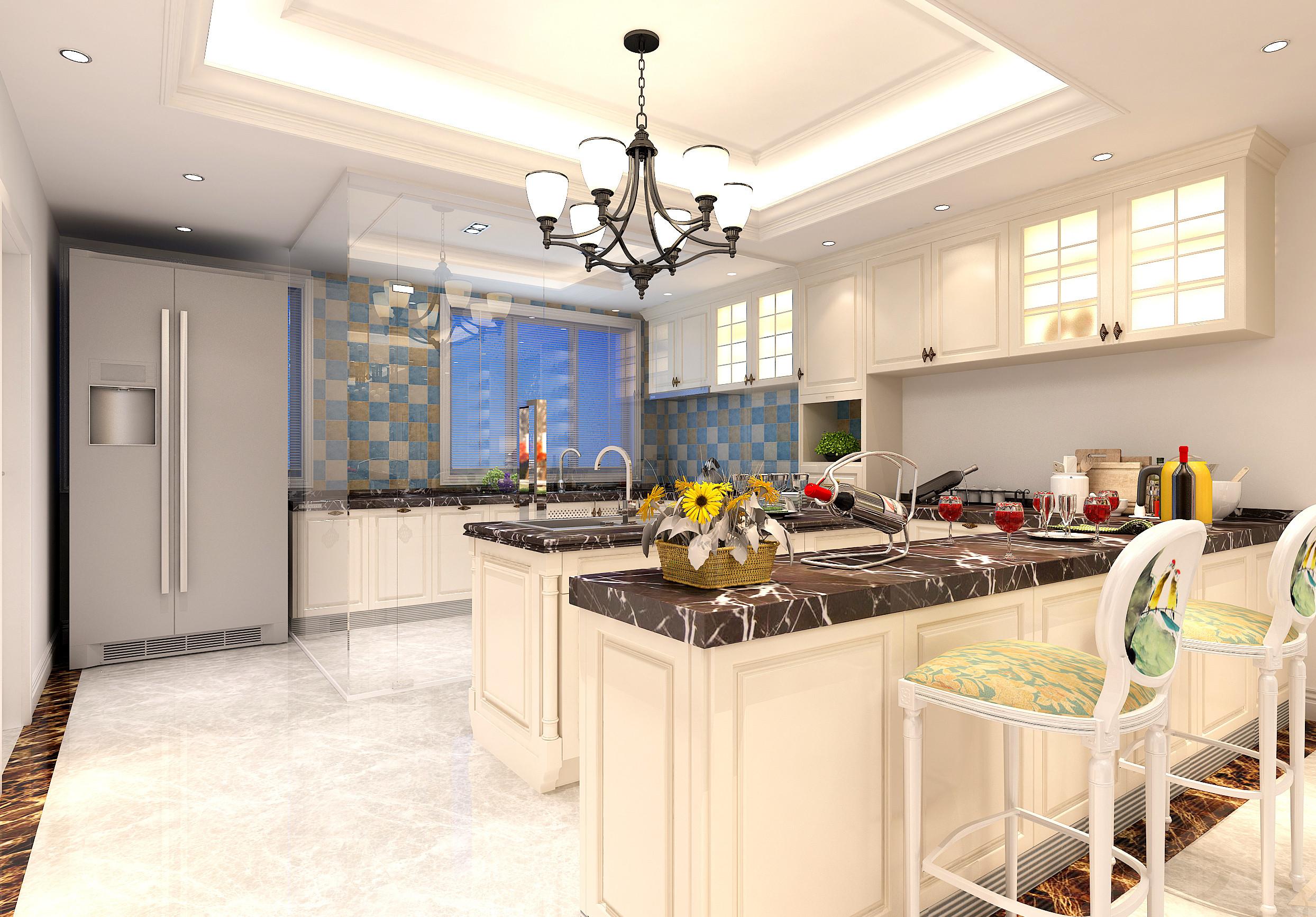 法式轻奢风格别墅装修厨房效果图