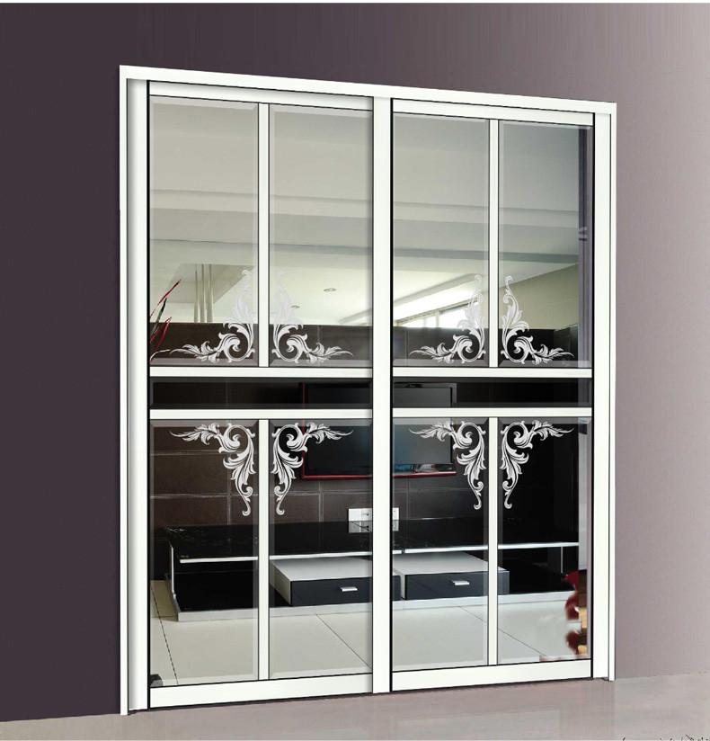雷拓移门 厨房隔断门 阳台推拉门 定制滑动门 简欧风格 银色镶嵌