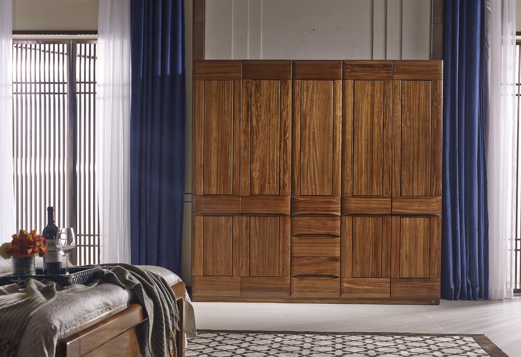 南洋迪克现代新派实木家具 乌金至品系列 五门衣柜2260*607*2200