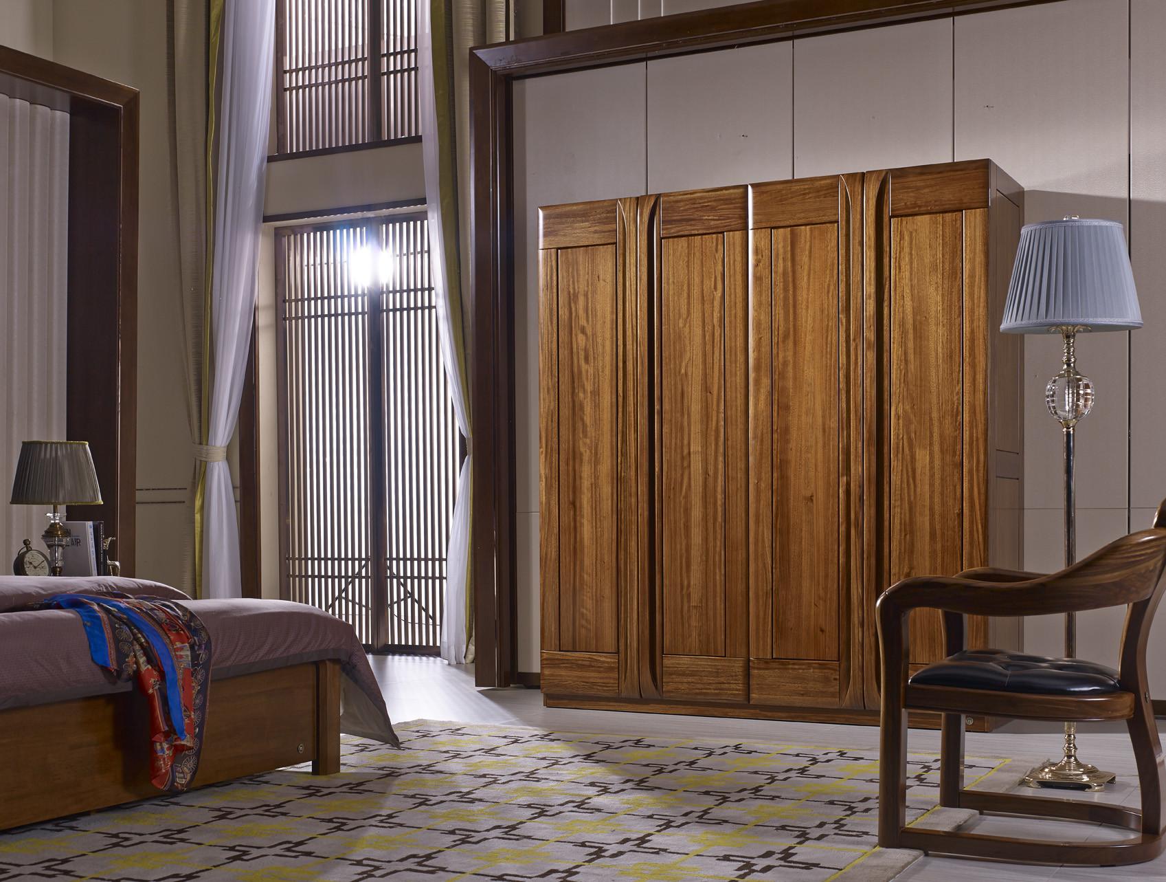 南洋迪克现代新派实木家具 乌金至品系列 四门衣柜1880*625*2100