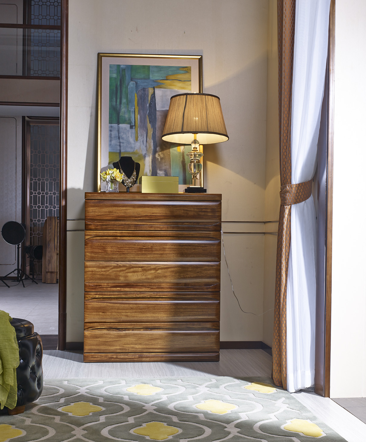 南洋迪克现代新派实木家具 乌金至品系列  五斗柜950*567*1173