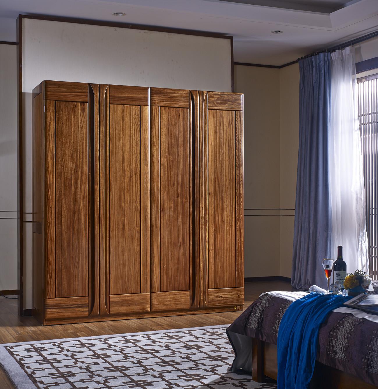 南洋迪克现代新派实木家具 乌金至品系列 四门衣柜2016*625*2200