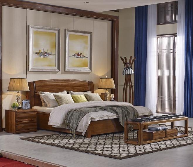 南洋迪克现代新派实木家具 乌金至品系列 高箱床1900*170*1160