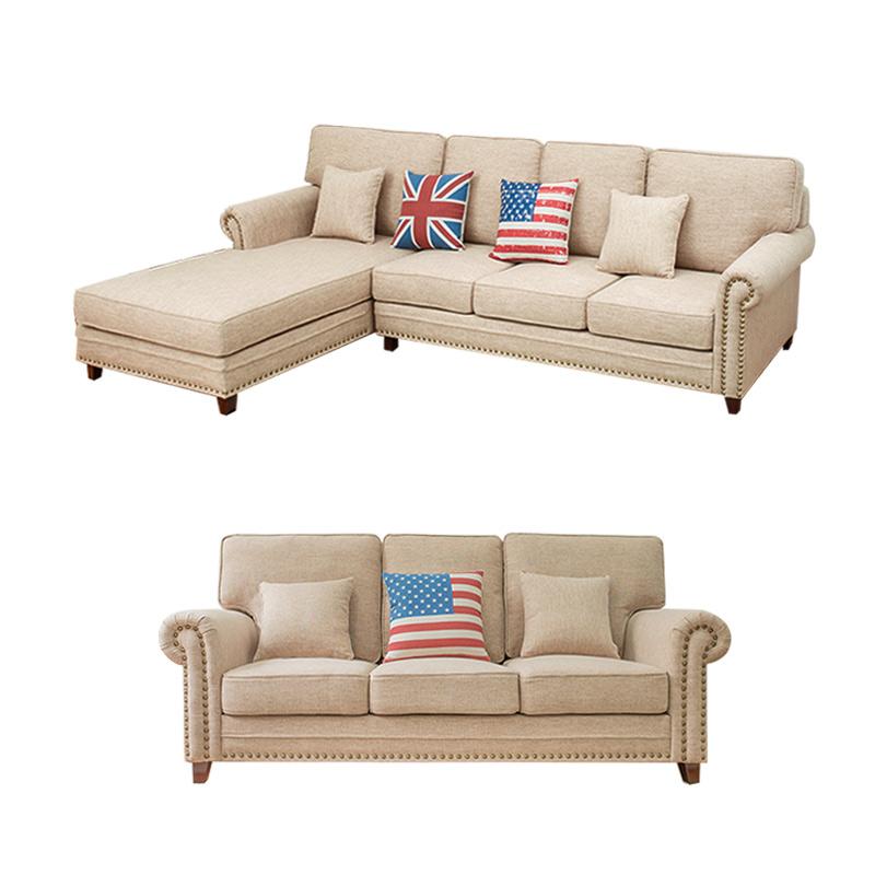 小美式乡村沙发美式沙发布艺沙发三人双人 客厅组合家具复古小户型-P1632|价格是三人+贵妃的,其他配置请咨询客服。
