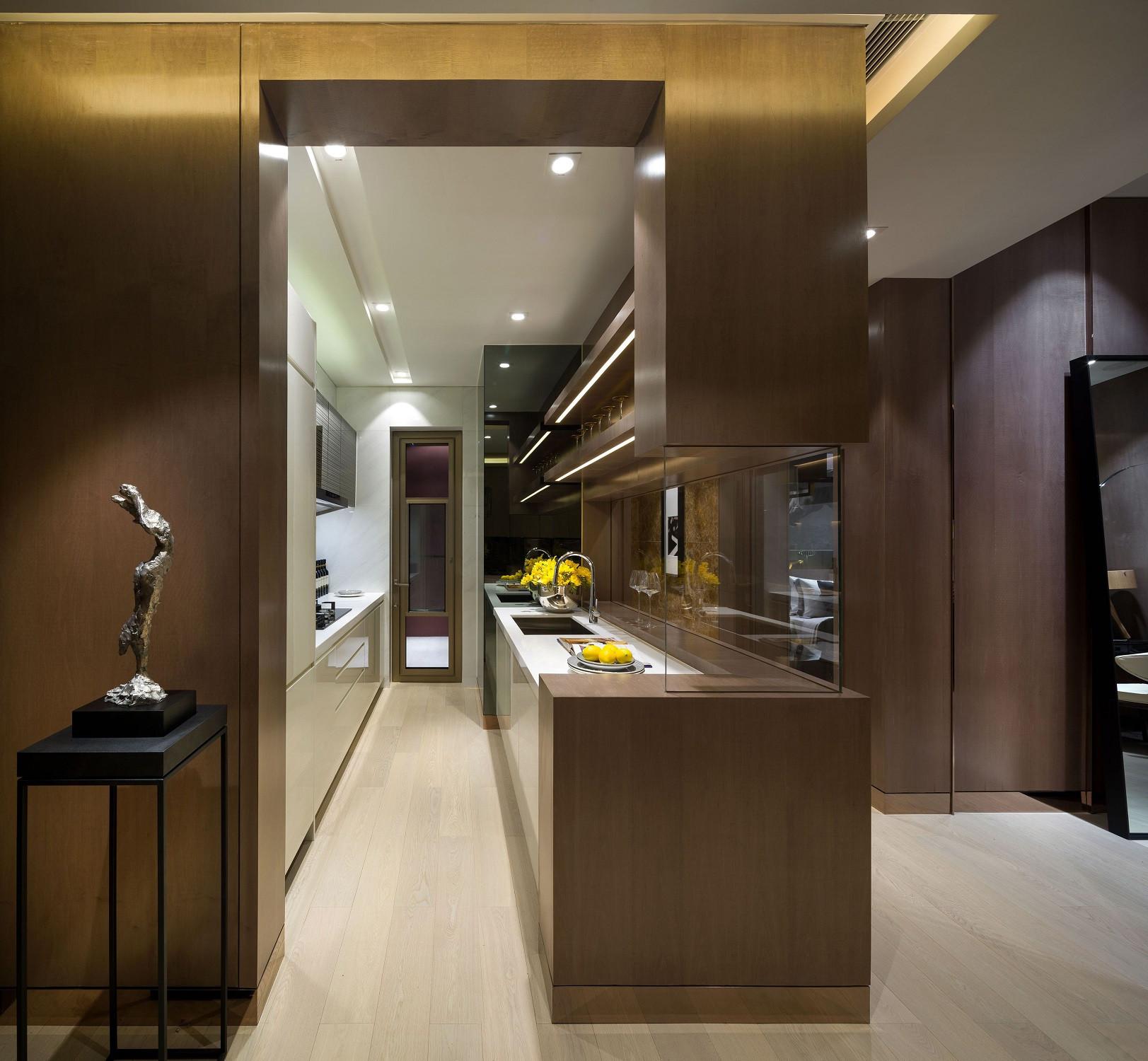 低调奢华的现代风装修厨房布局图