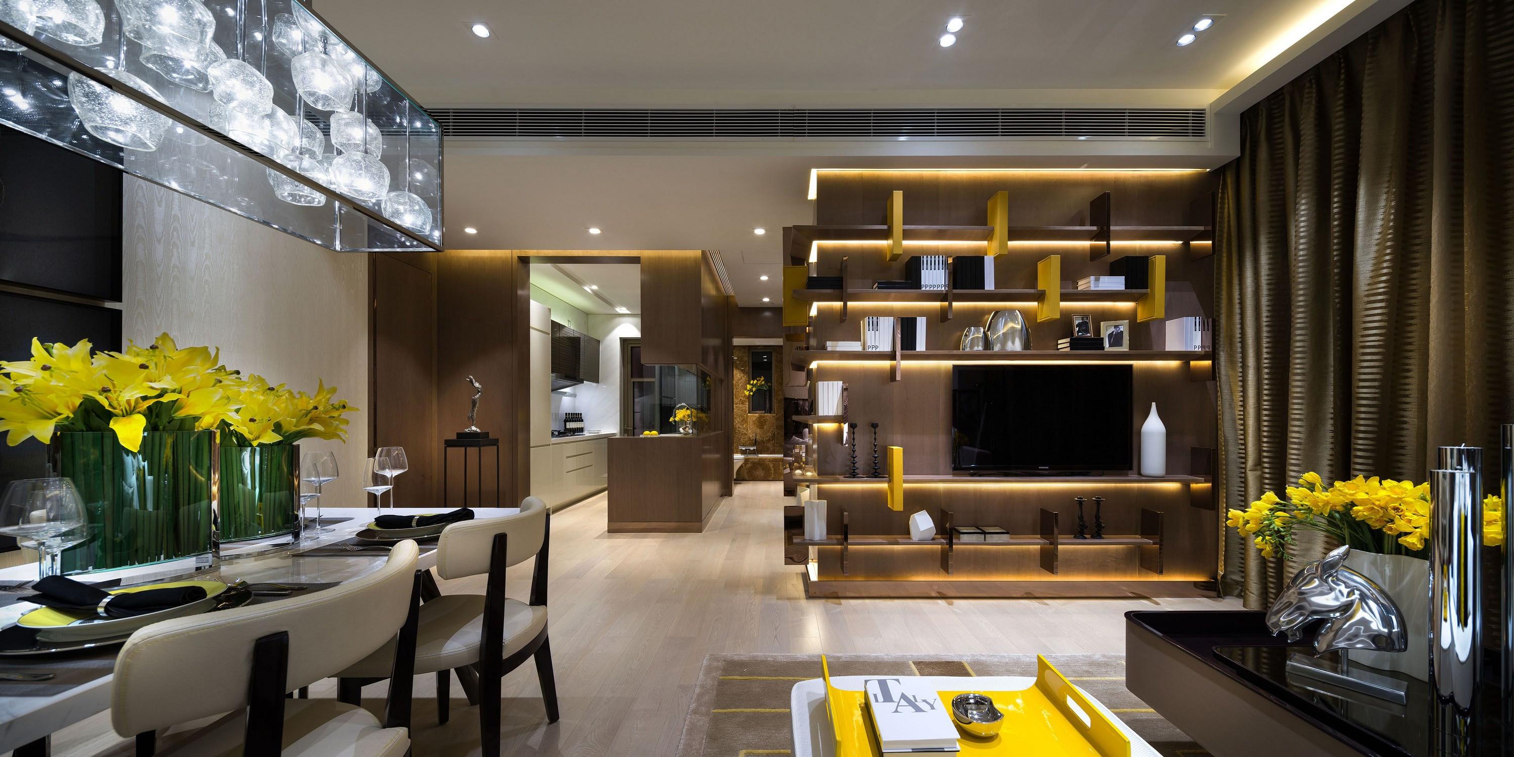 低调奢华的现代风装修客餐厅效果图