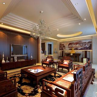 中式别墅装修效果图 年轮古味