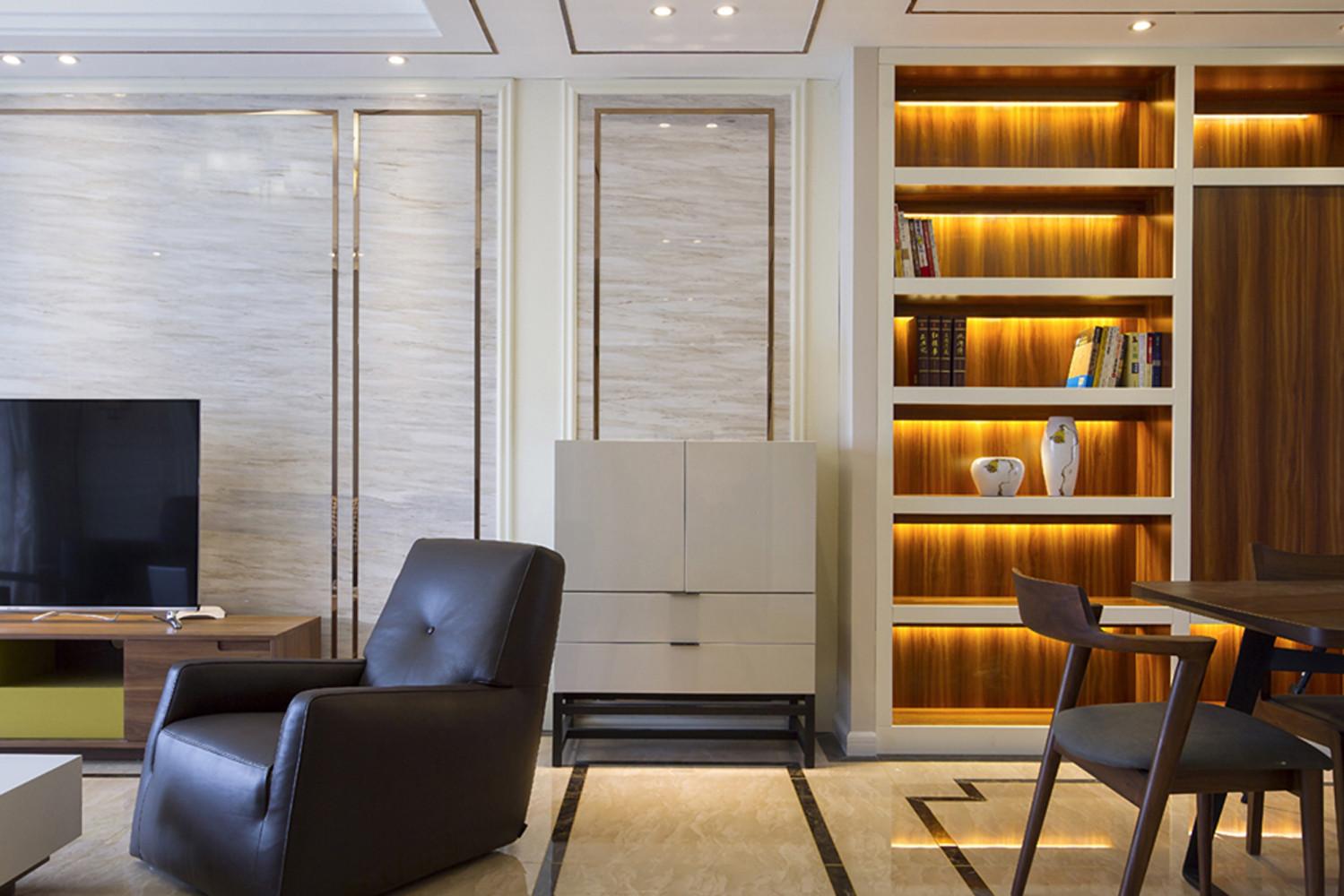 140平现代中式家入户走廊端景