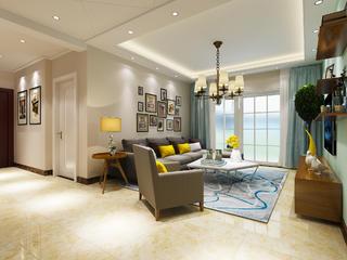 清新简约风格二居装修沙发背景墙图片