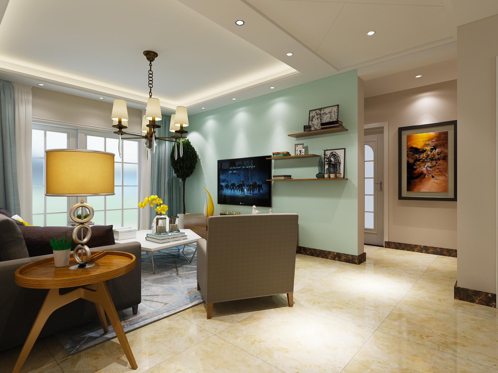清新简约风格二居装修电视背景墙图片