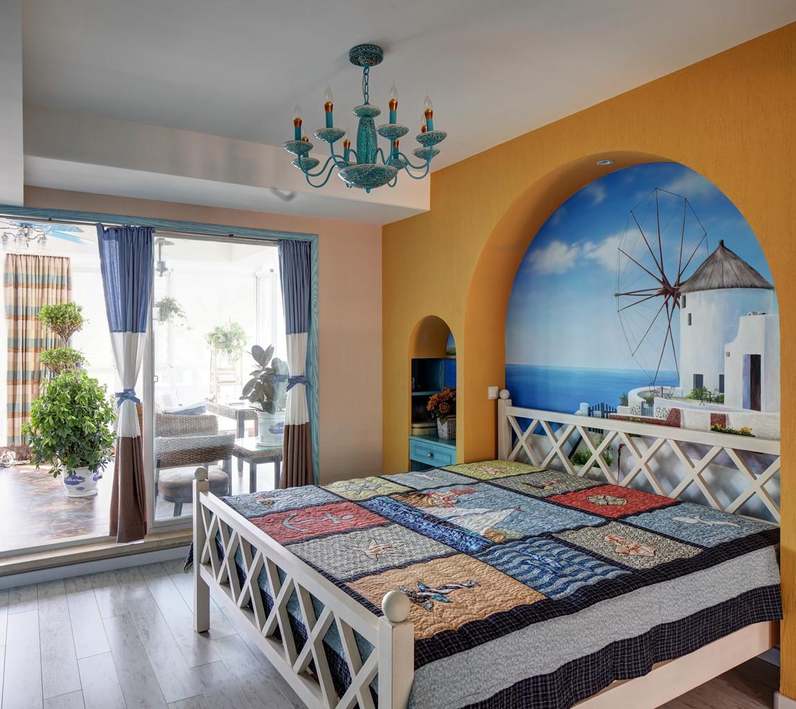 地中海风格复式装修卧室搭配图
