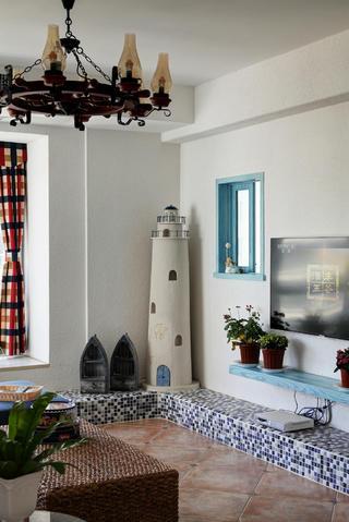 地中海风格复式装修客厅一角