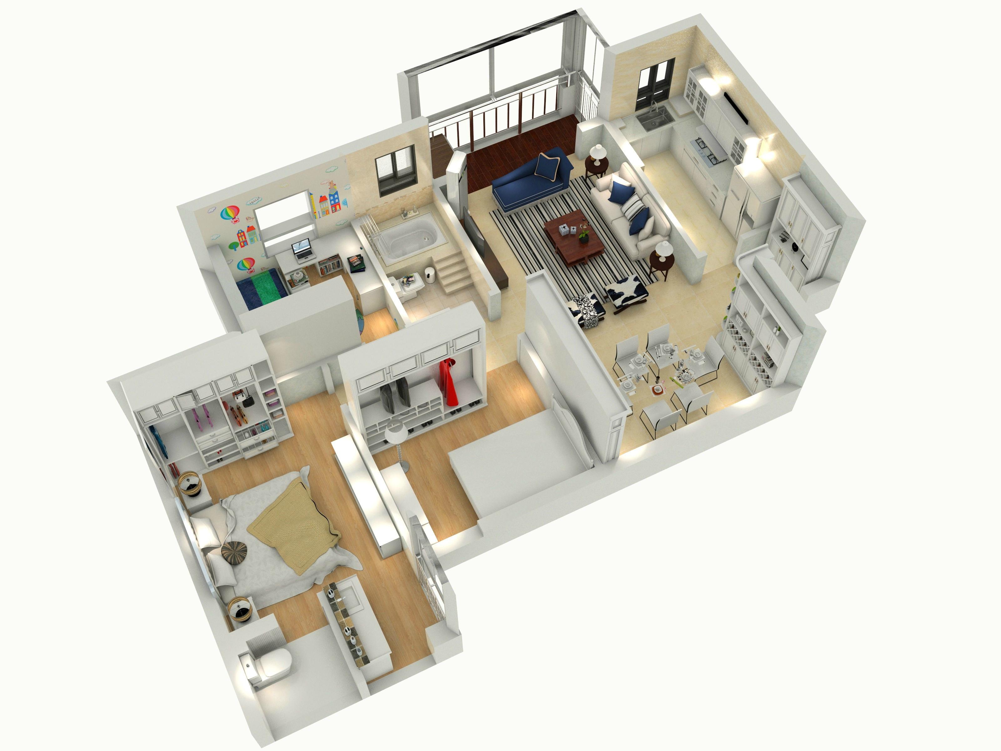90㎡三居装修房子户型图