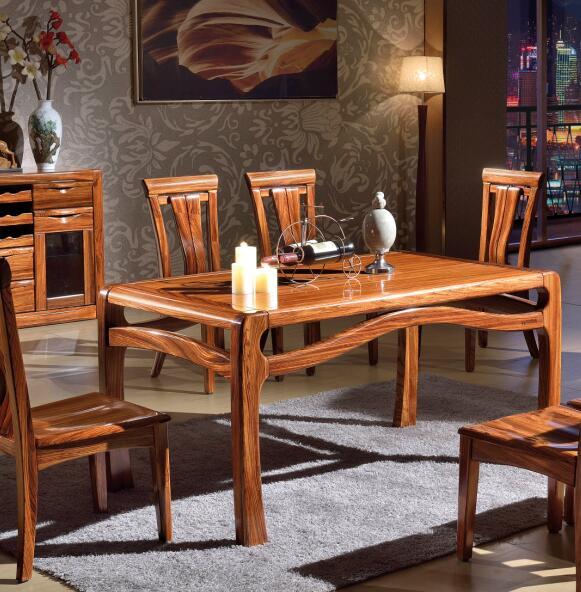 宏巨乌金木 7808餐桌+4椅