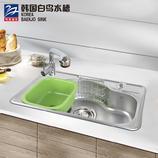 韩国白鸟水槽 原装进口 厨盆水池套餐 厨房洗菜洗碗盆 单槽DS780+YJ3516