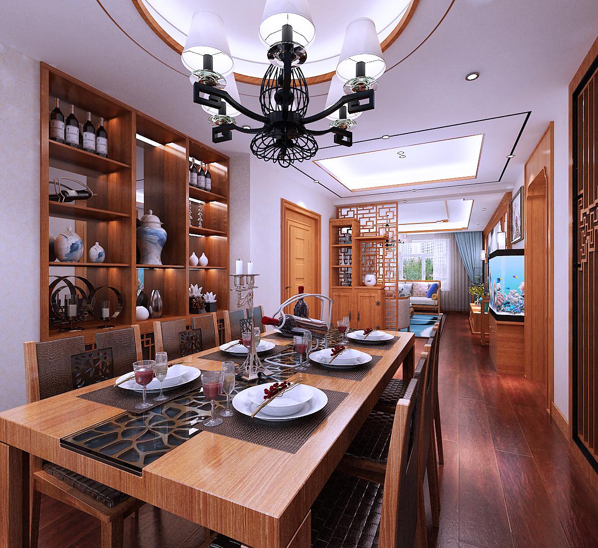 新中式装修餐桌图片