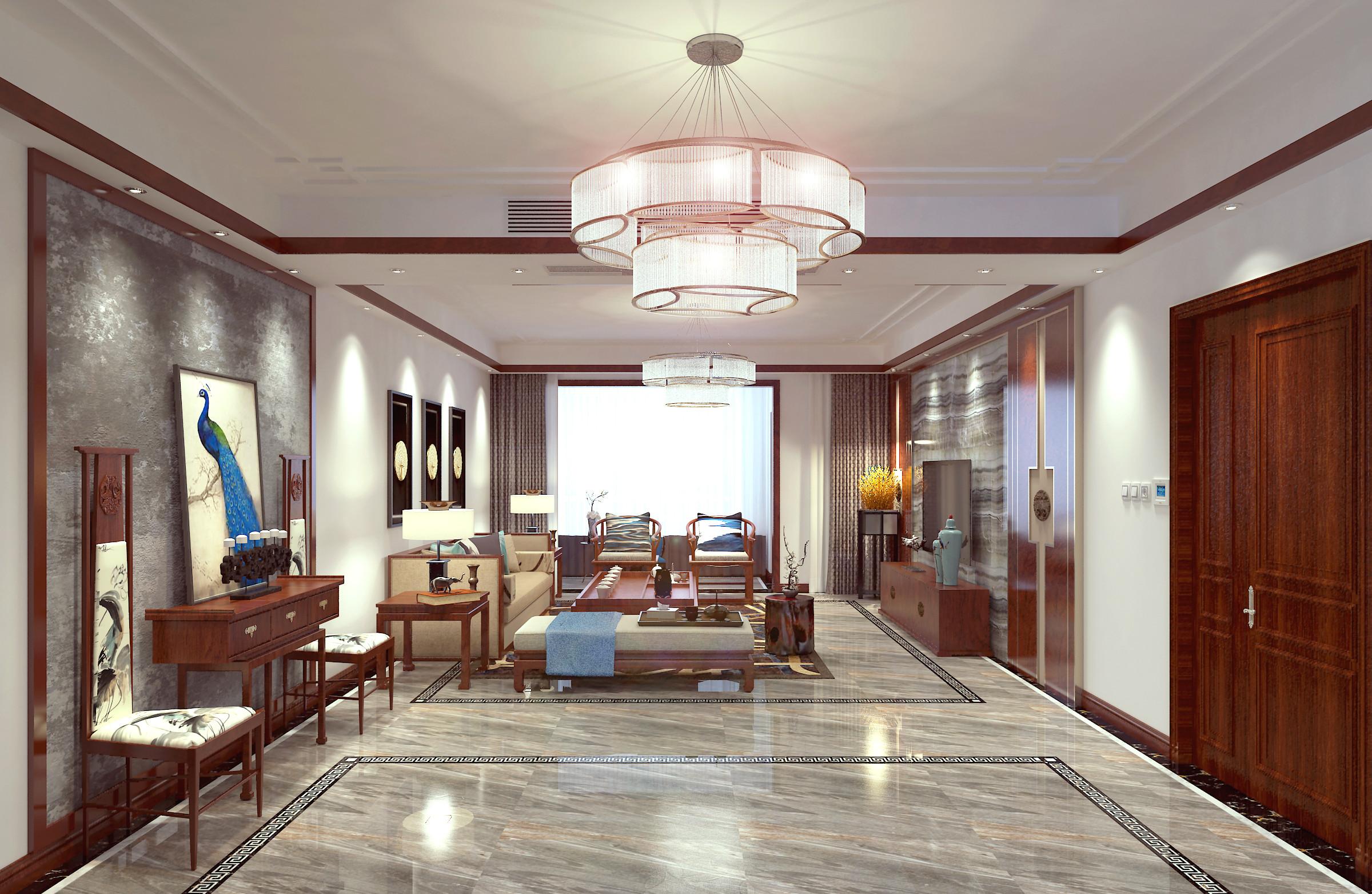178平简约新中式装修门厅效果图