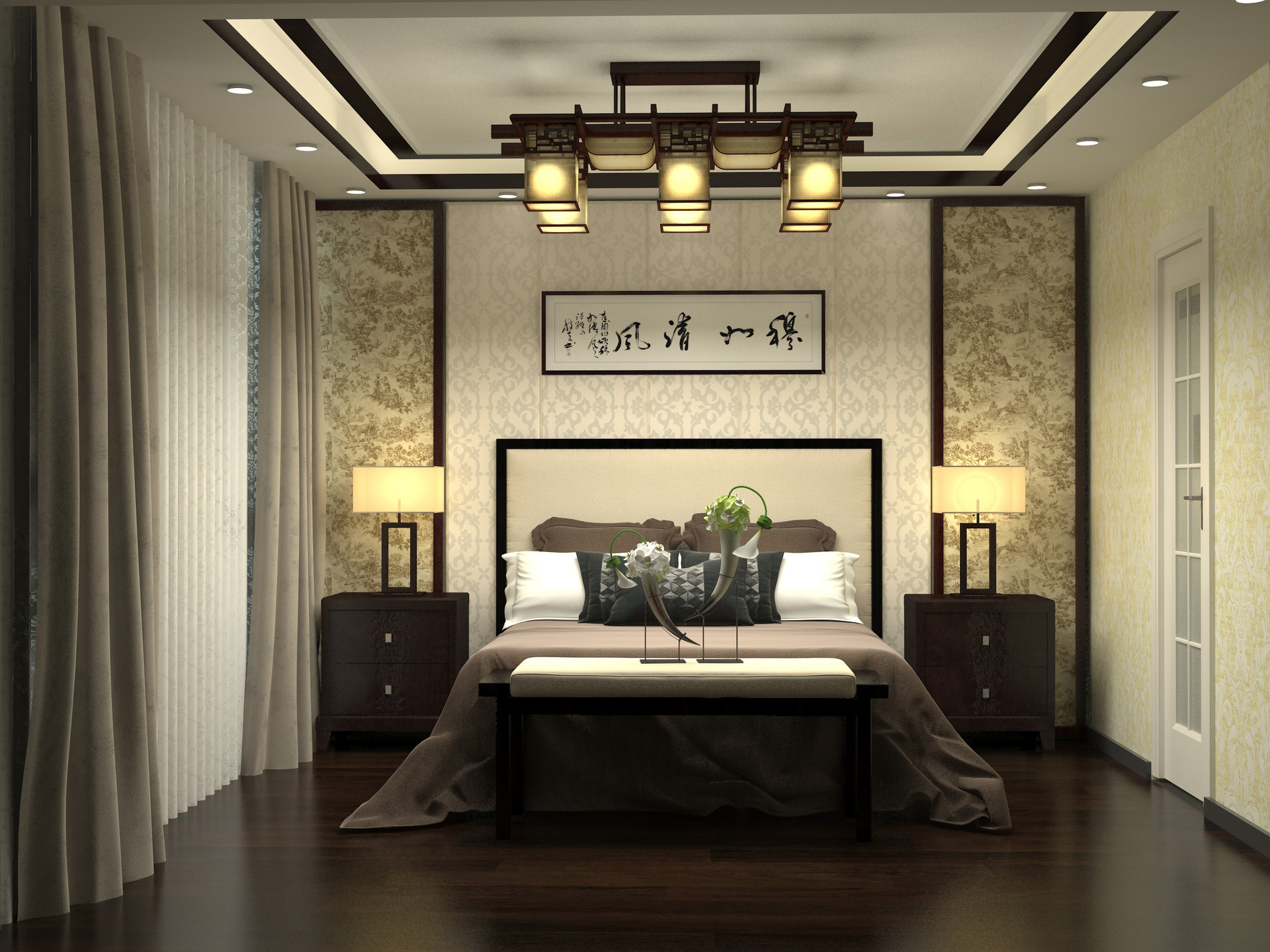 中式别墅装修主卧效果图