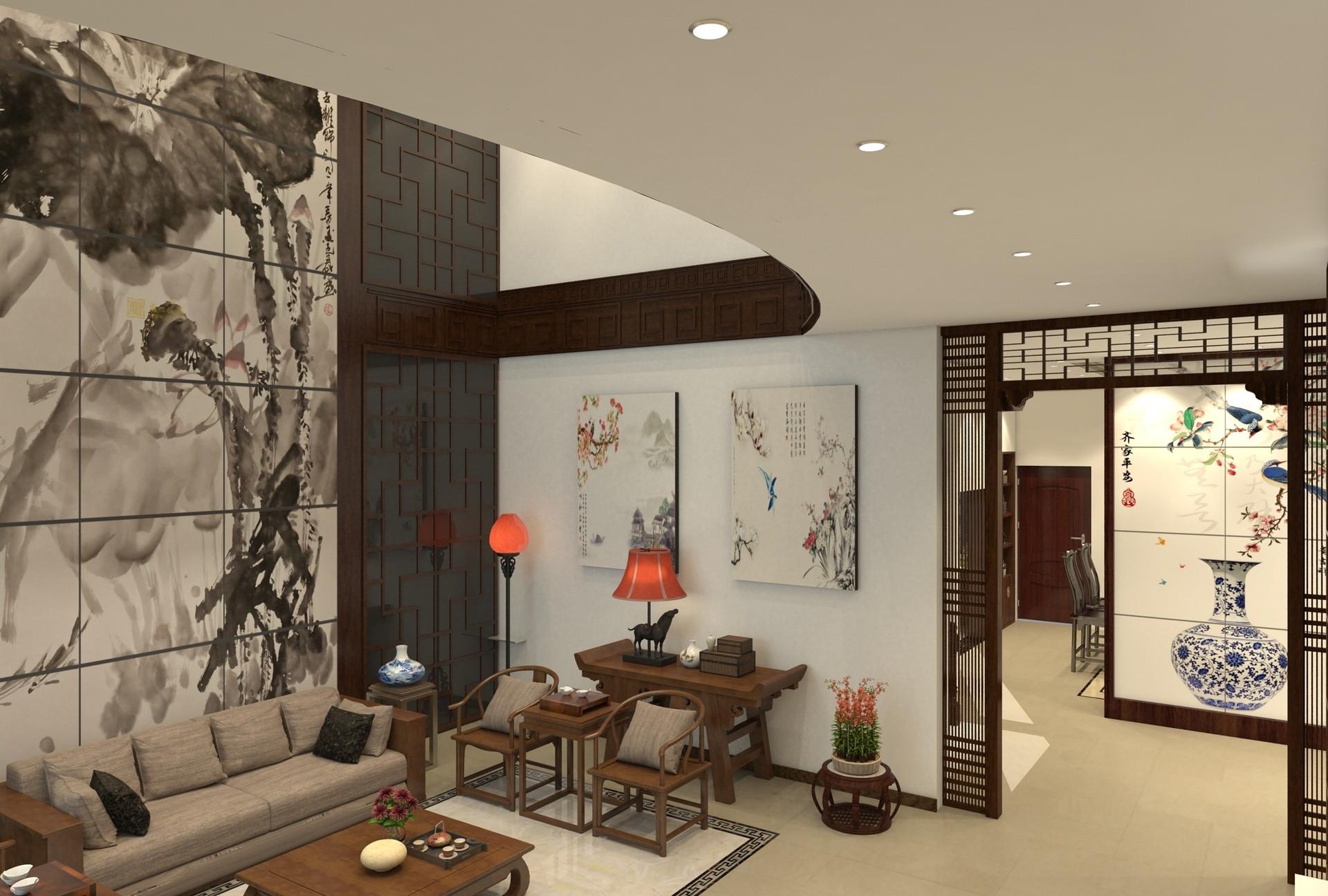中式别墅装沙发背景墙图片