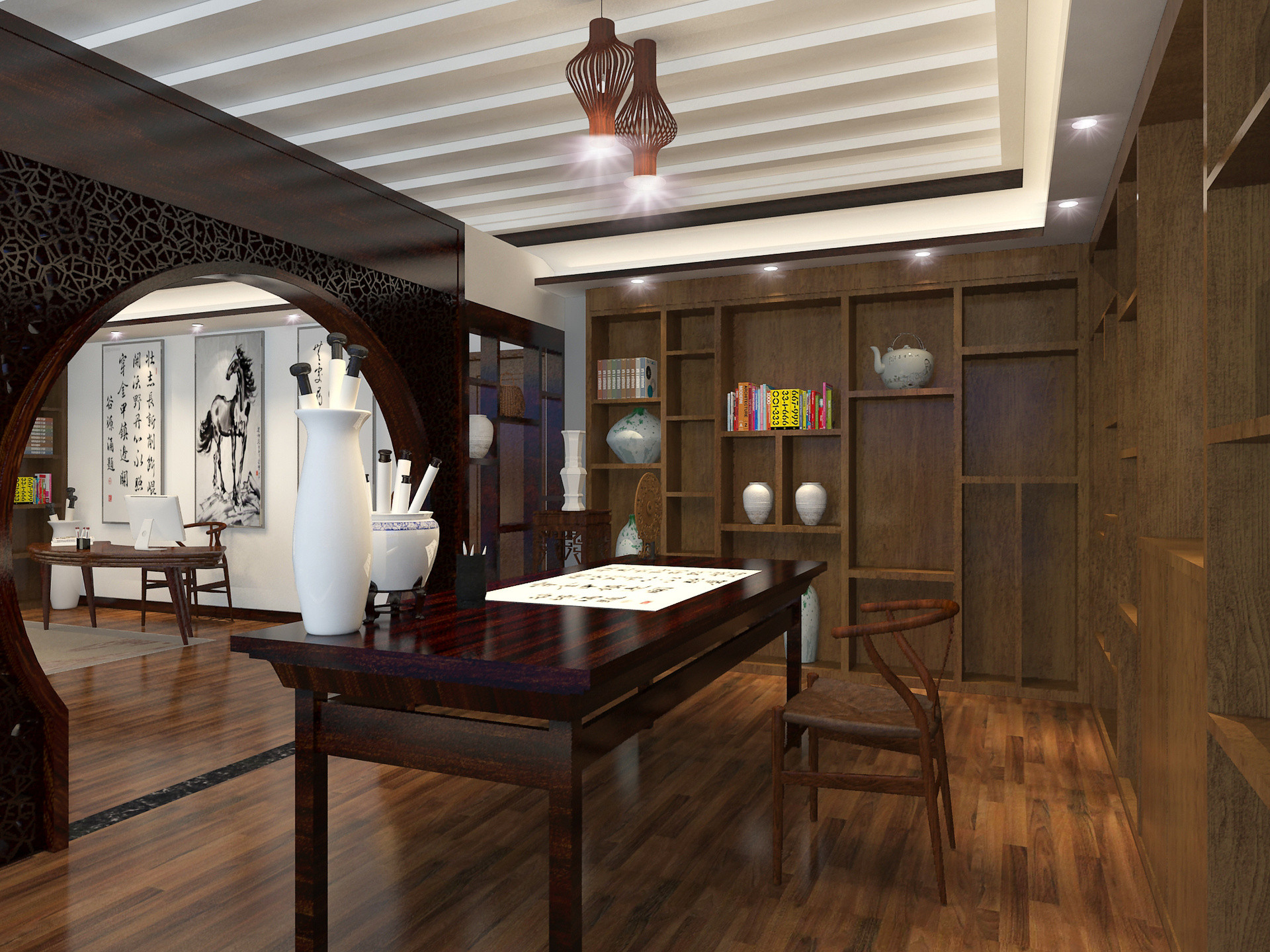 中式别墅装修书房工作区