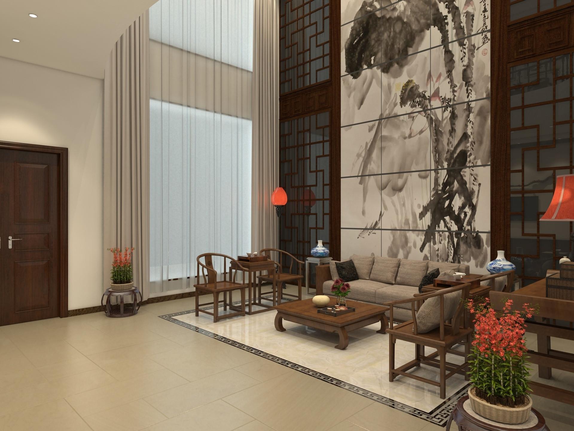 中式别墅装修客厅布局图