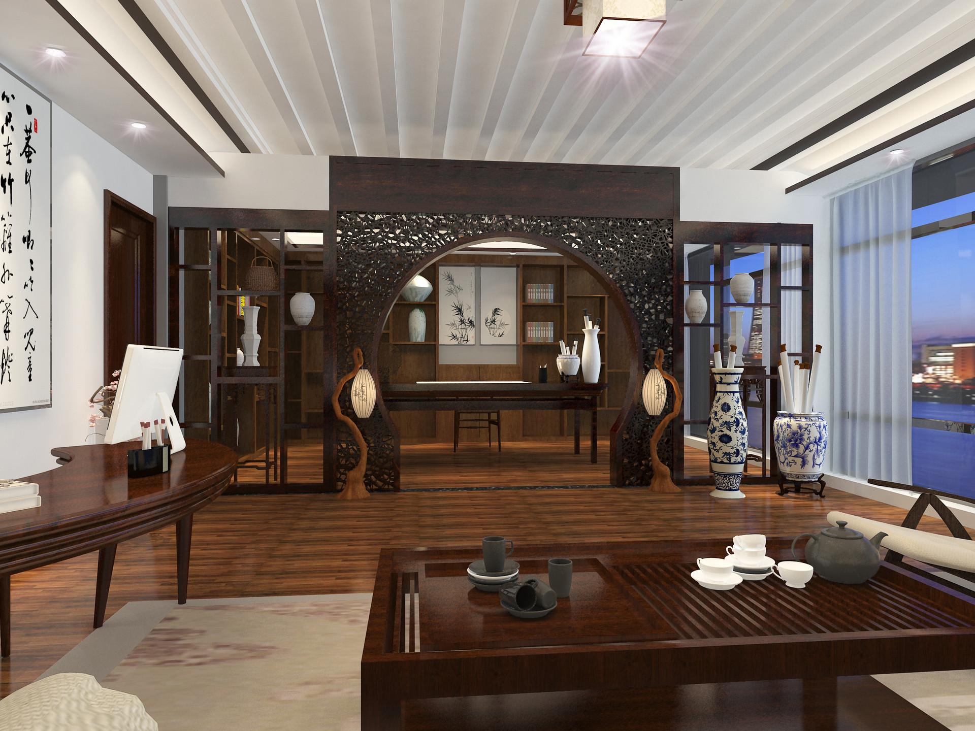 中式别墅装修书房镂空隔断设计