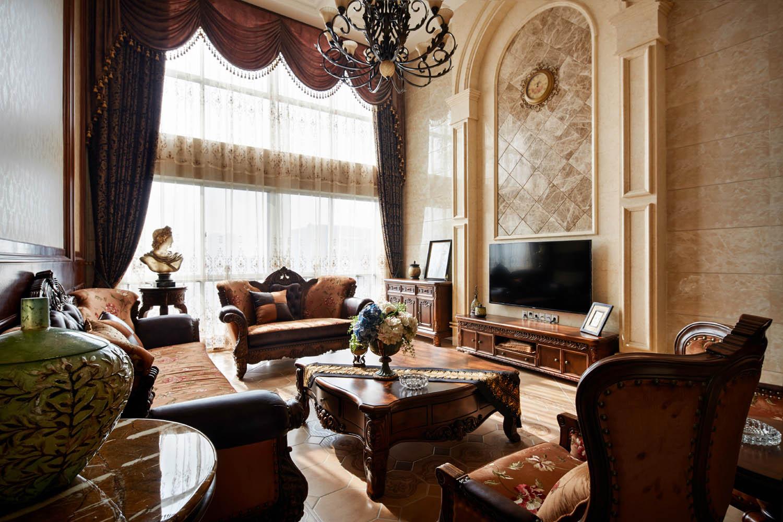 美式复式装修沙发茶几图片