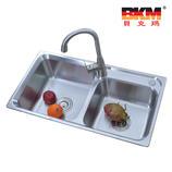 贝克玛卫浴 厨房不锈钢双斗水槽 BKM 7943-S 新款拉丝面SUS304