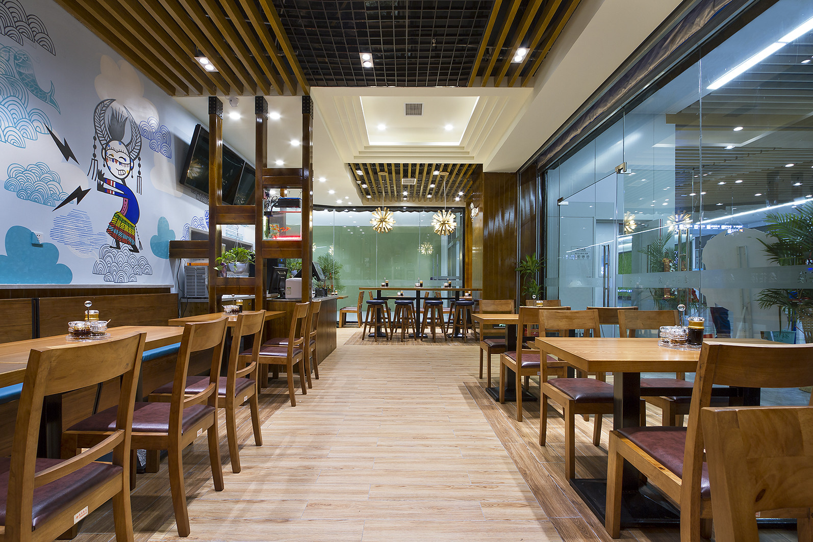 90平快餐厅装修过道图片