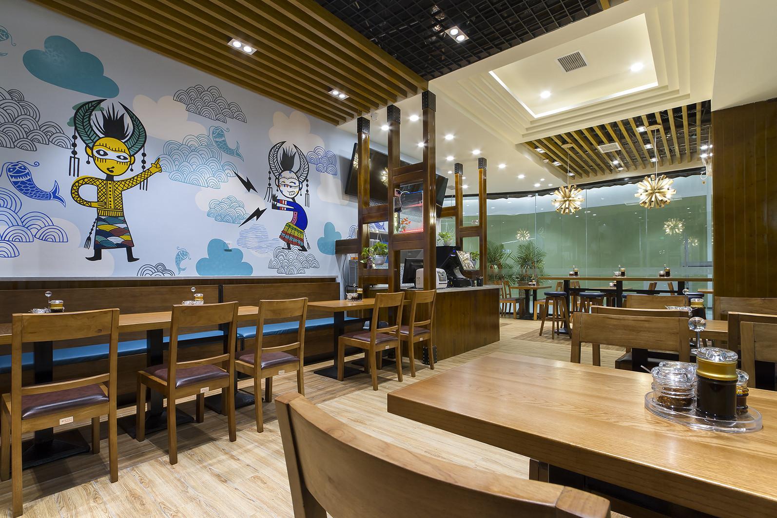 90平快餐厅装修卡座设计