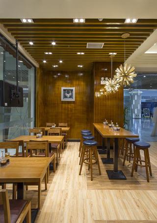90平快餐厅装修吧台区设计