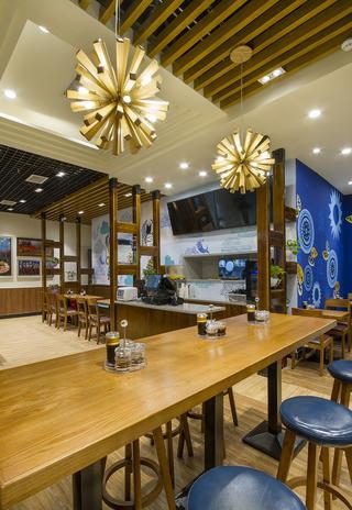 90平快餐厅装修吧台图片