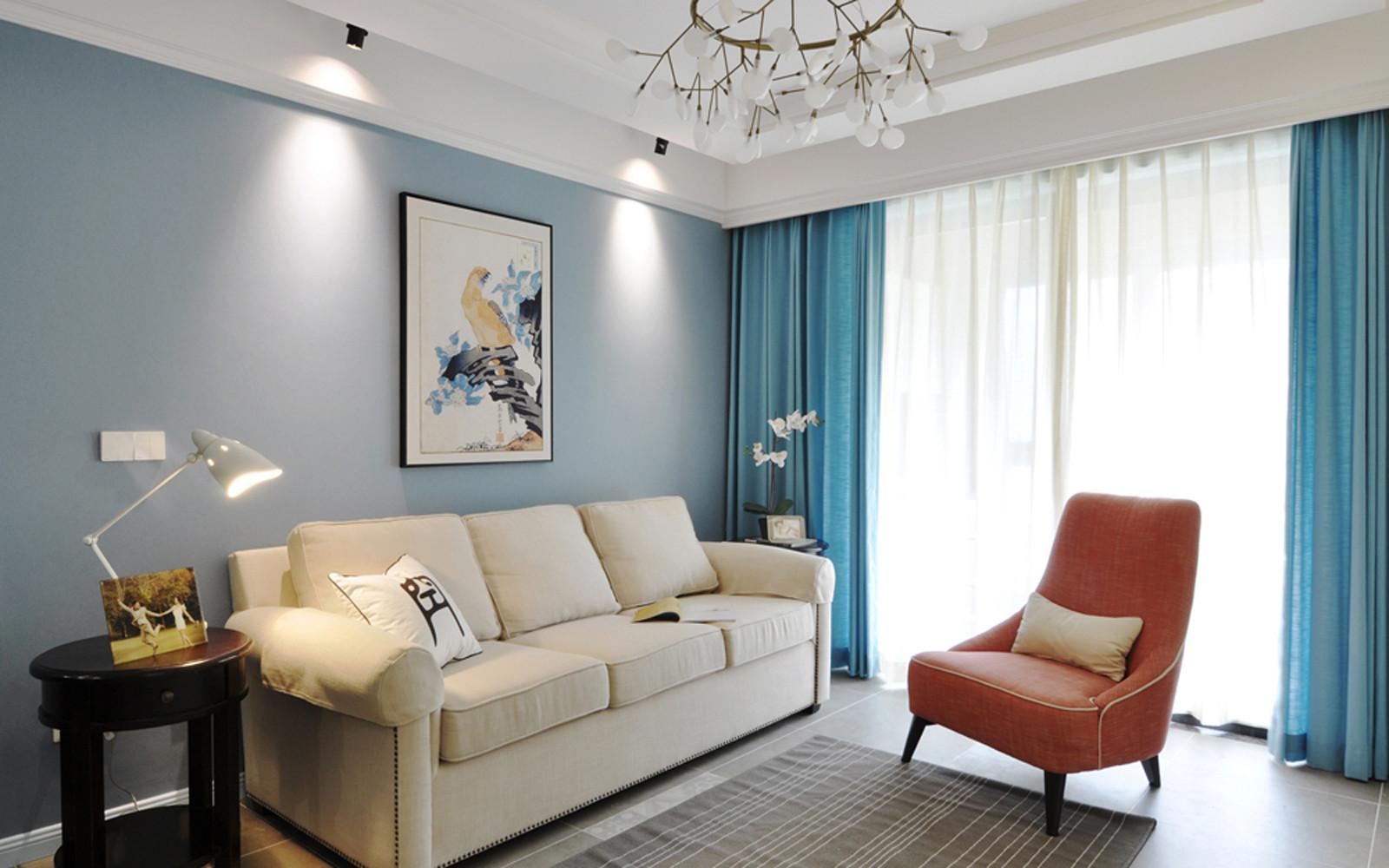 二居室美式风格家窗帘图片