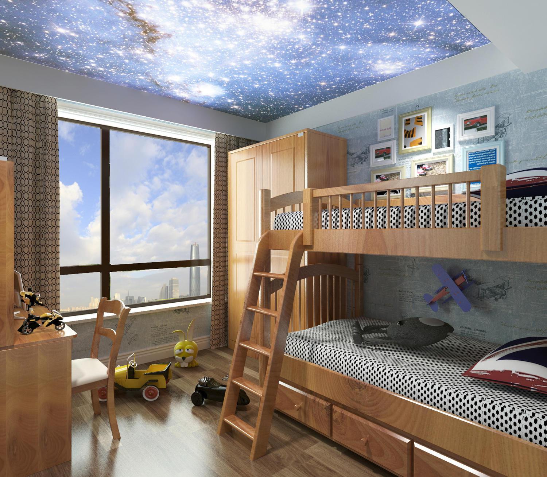 男孩的房间上下床,星空装饰顶面