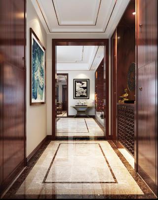 新中式豪华别墅装修门厅效果图