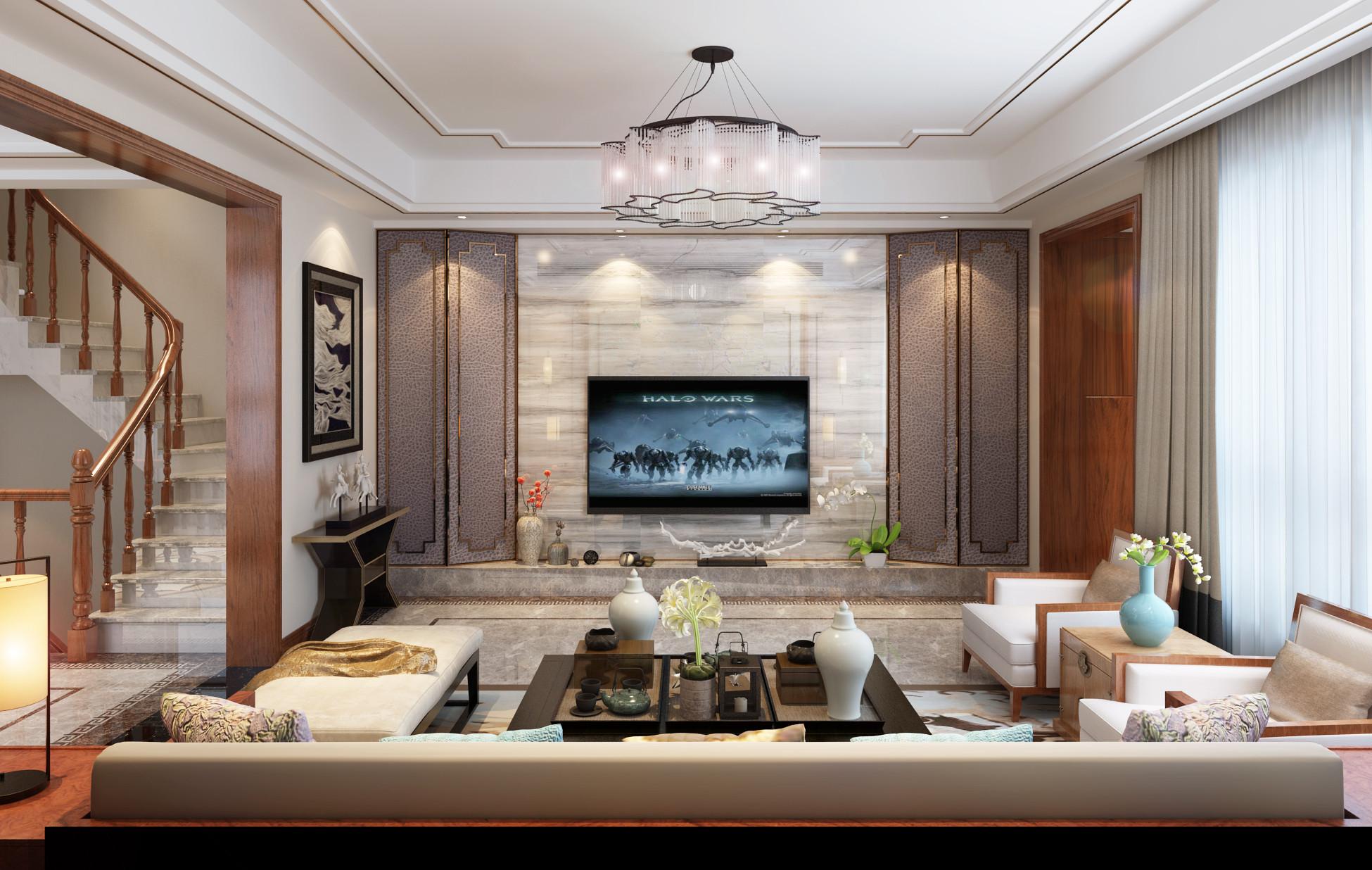 新中式豪华别墅装修电视背景墙图片