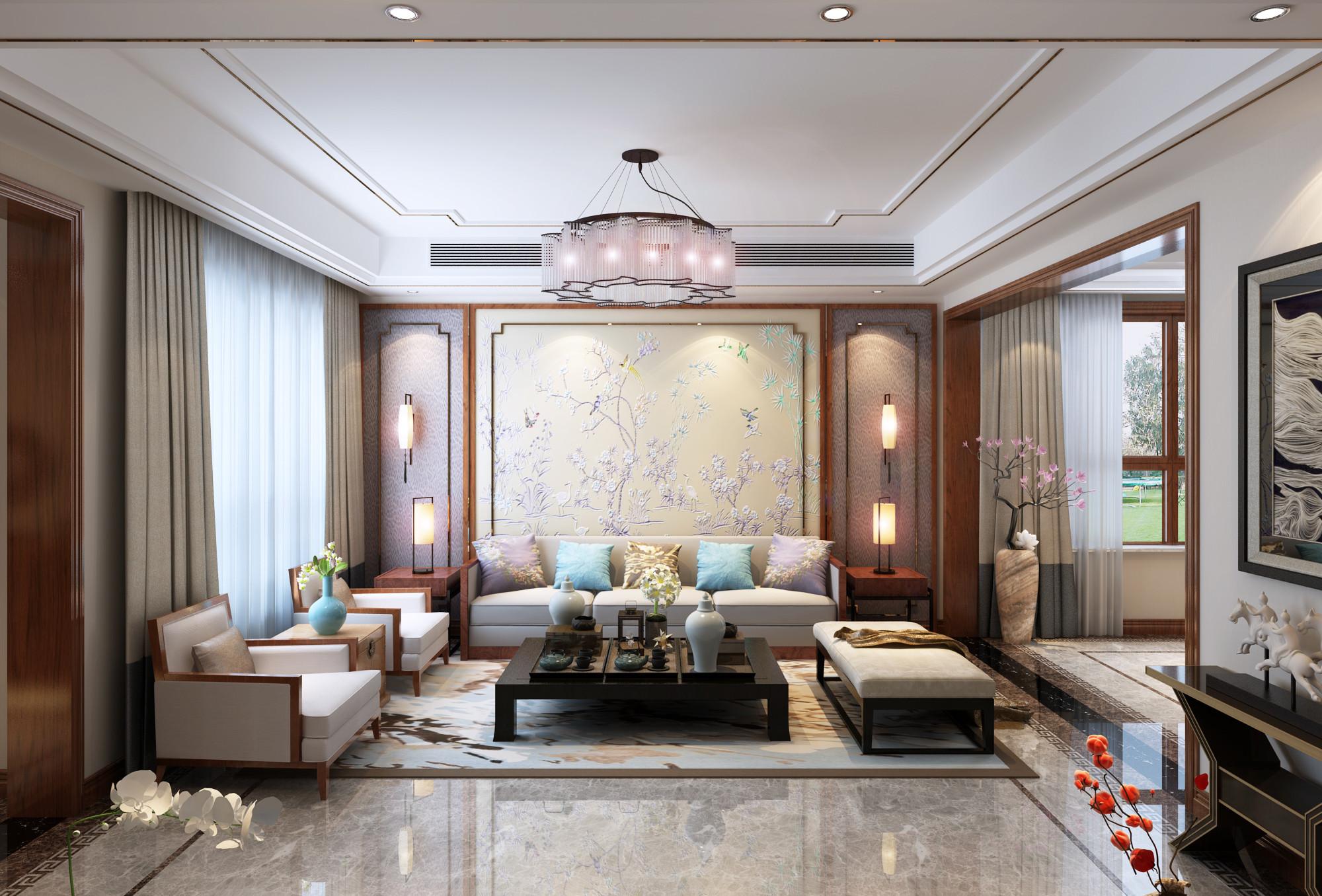 新中式豪华别墅装修沙发背景墙图片