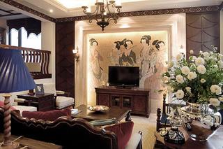 东南亚休闲别墅装修电视背景墙图片