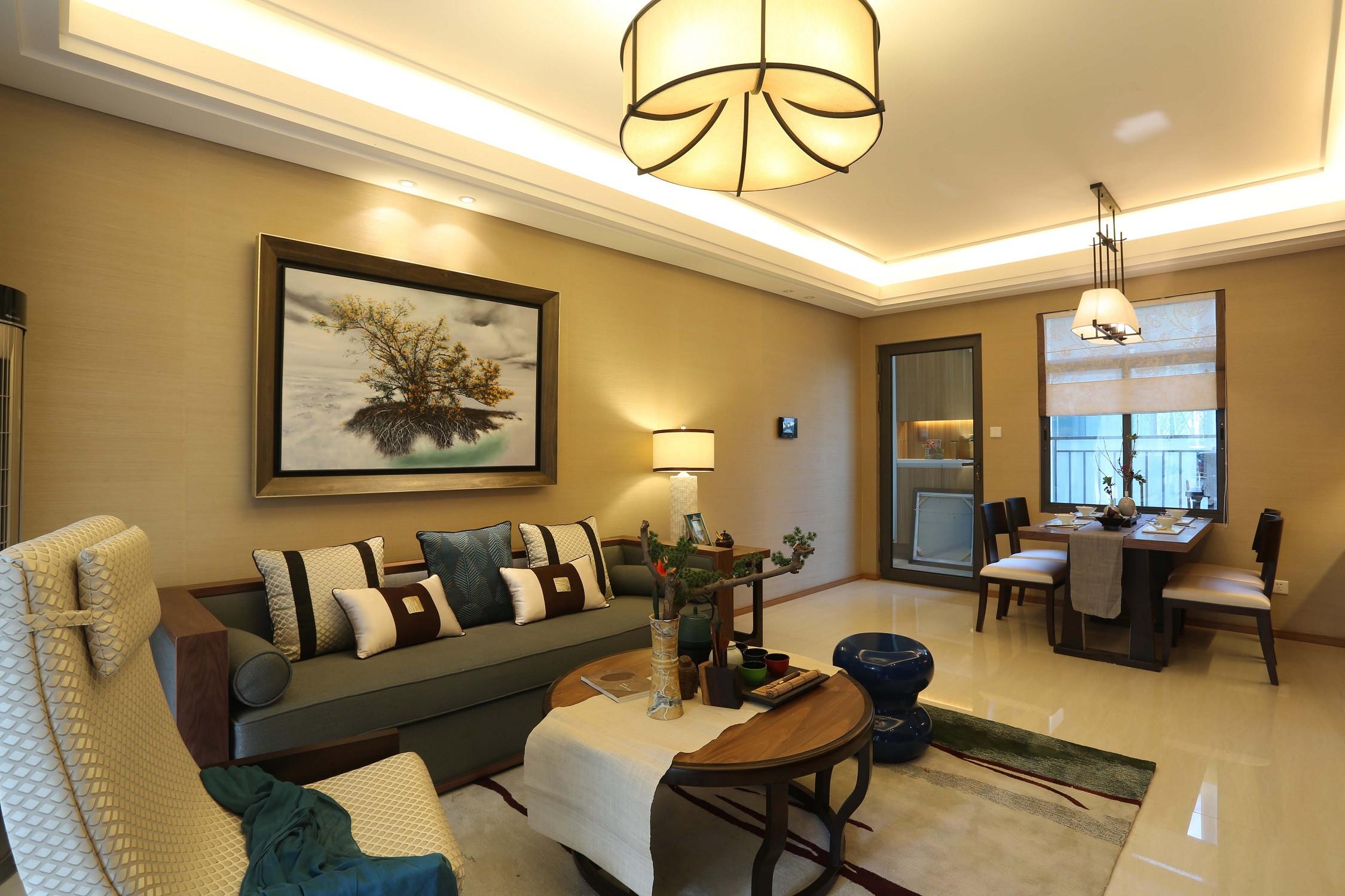 混搭中式装修沙发背景墙设计