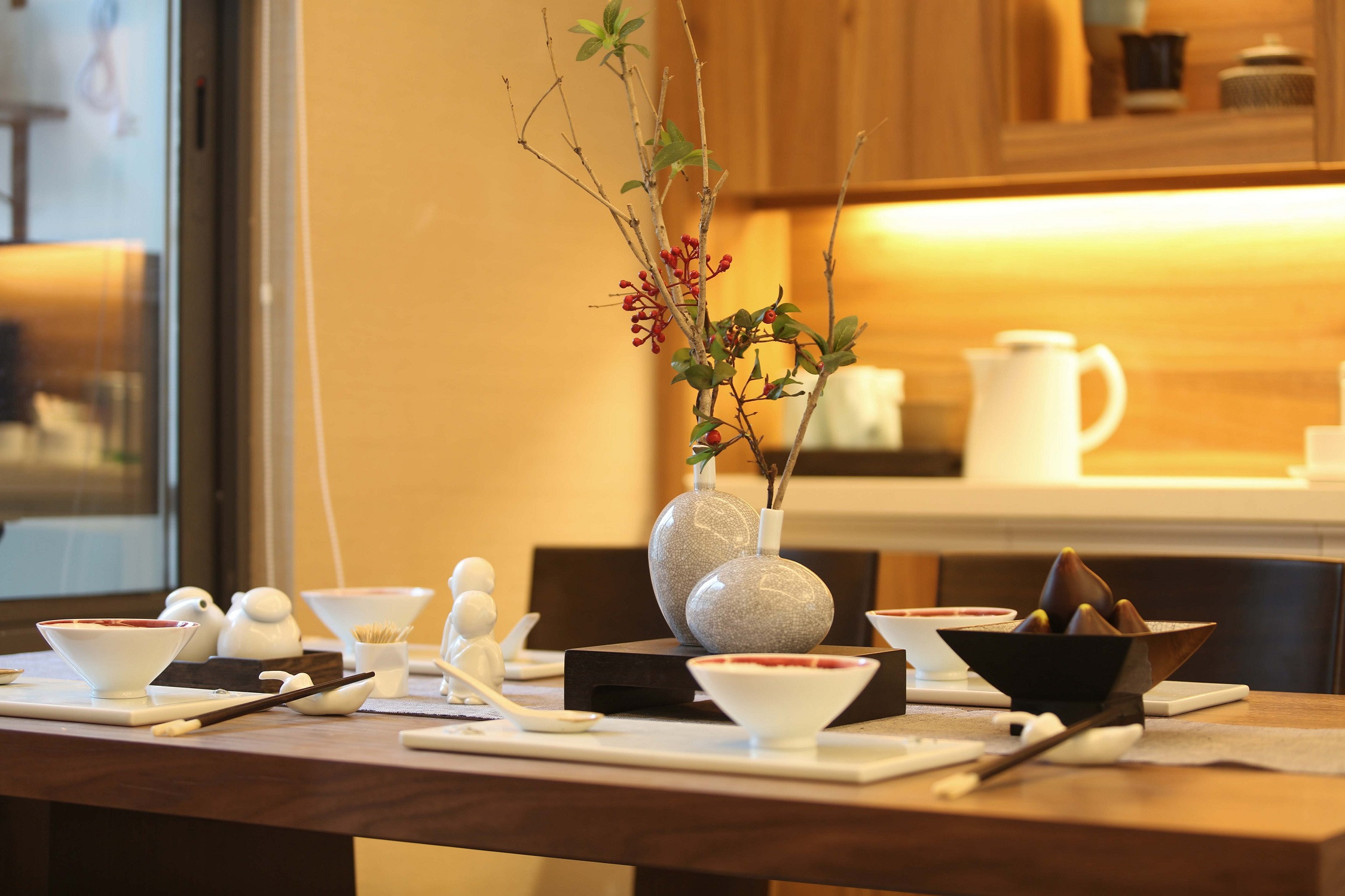 108平中式风之家餐桌摆件