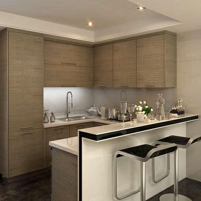 百隆橱柜 棕色木纹爱格板橱柜整体定制
