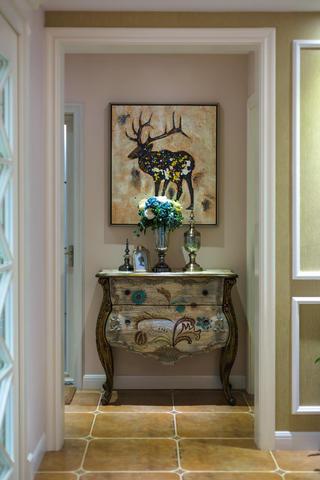 110㎡美式三居装修玄关柜图片