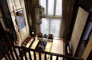 中式别墅装修客厅俯瞰图