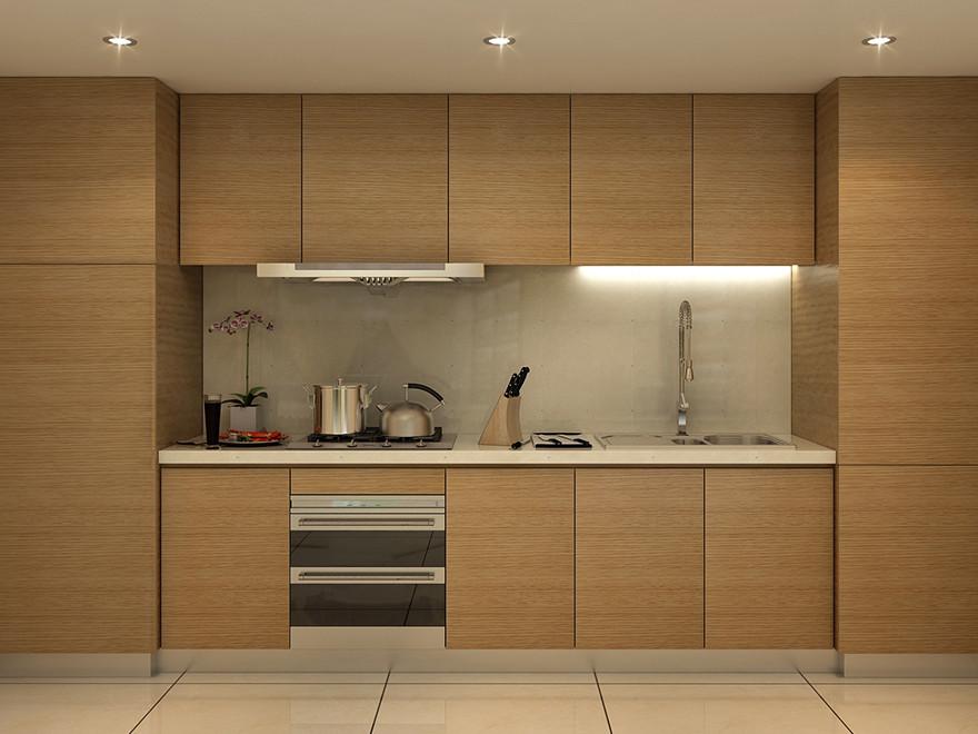 百隆厨柜 木色木纹整体橱柜爱格板现代简约橱柜