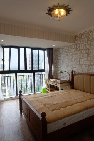 100平美式田园风格家卧室布置图