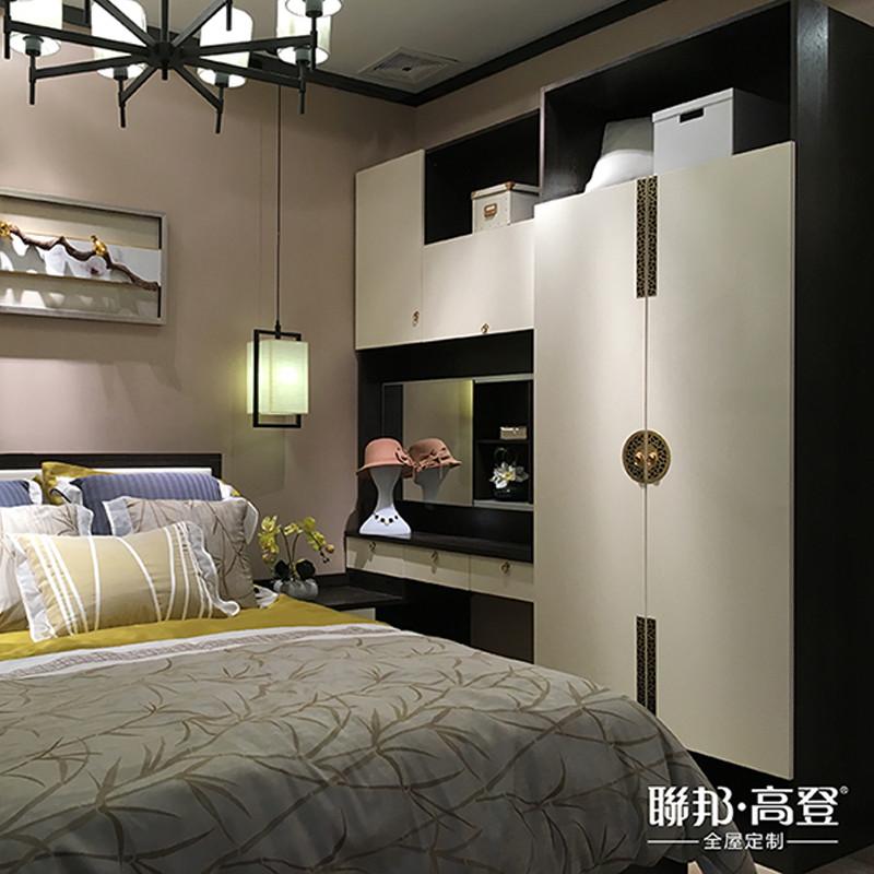 联邦高登新中式卧房绅士黑玄月霜衣柜