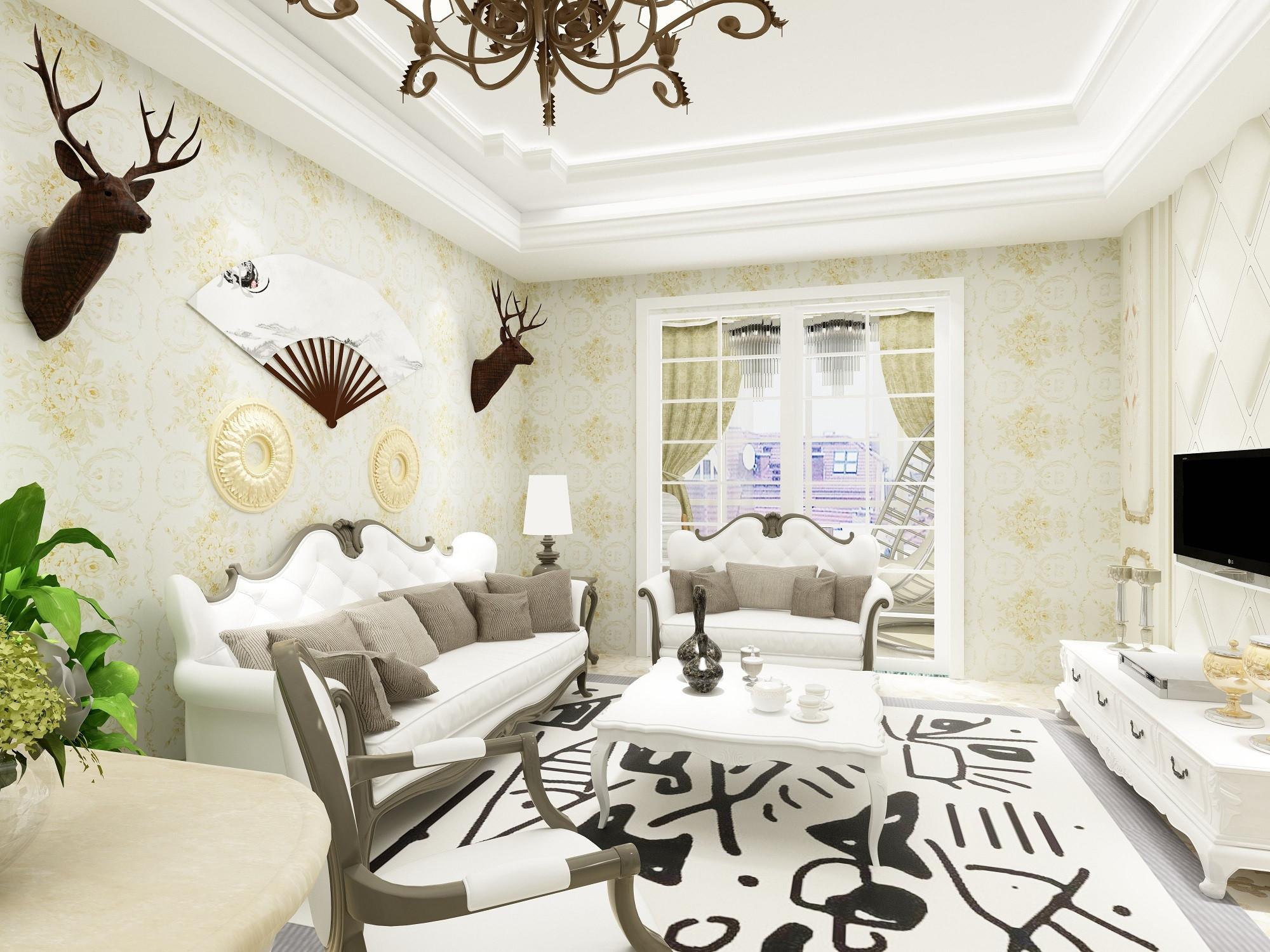 80平现代欧式装修沙发背景墙图片