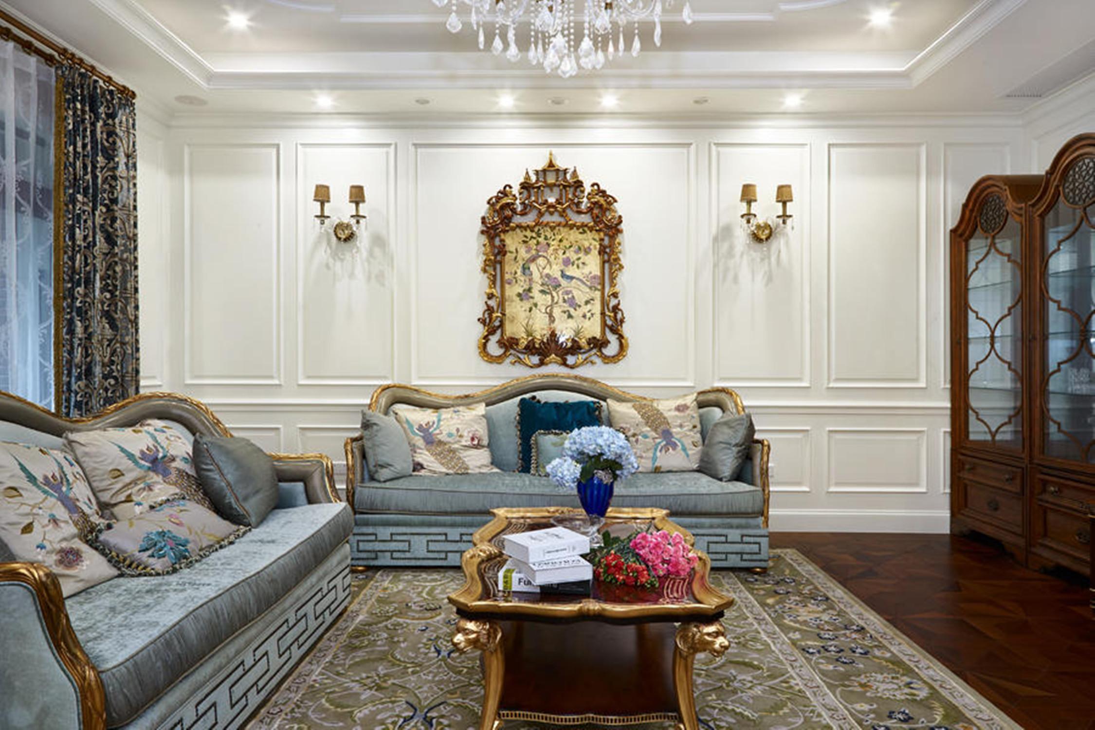 法式别墅装修沙发背景墙图片