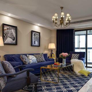 美式四房装修设计 海蓝之家